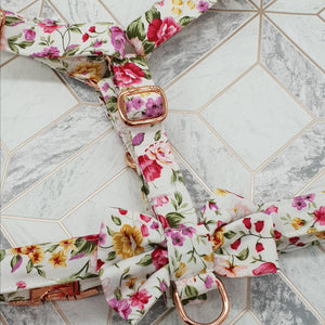 Dog Harness in Pink Rose Design with Rose Gold Metal Fittings