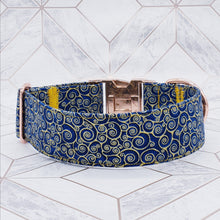 Load image into Gallery viewer, Dog Collar in Navy and Gold Fabric with Rose Gold Fittings
