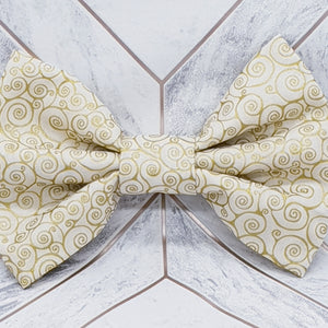 Cream and Gold Dog Bow Tie