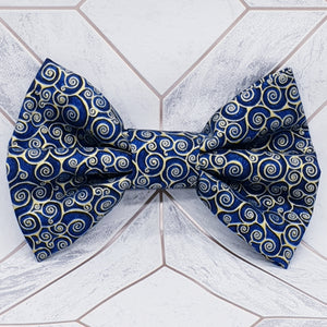 Navy and Gold Dog Bow Tie