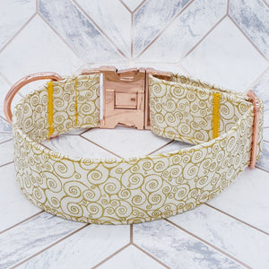 Dog Collar in Cream and Gold Fabric with Rose Gold Fittings 40mm Extra Wide