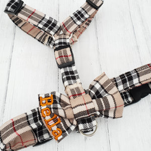 Dog Harness in Plaid Tartan Design