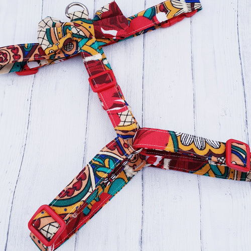Dog Harness in Bright Abstract Floral Design