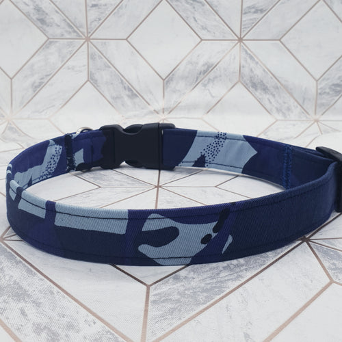 Dog Collar in Blue Camouflage Design with Plastic Fittings