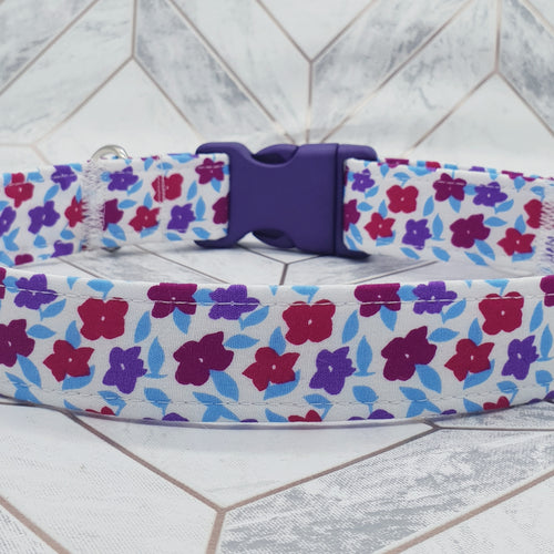 Dog Collar in Red Purple Floral Design with Plastic Fittings