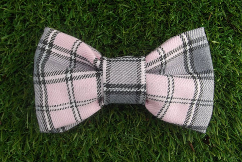 Pink Grey Plaid Tartan Dog Bow Tie - WaggyBumPetBoutique