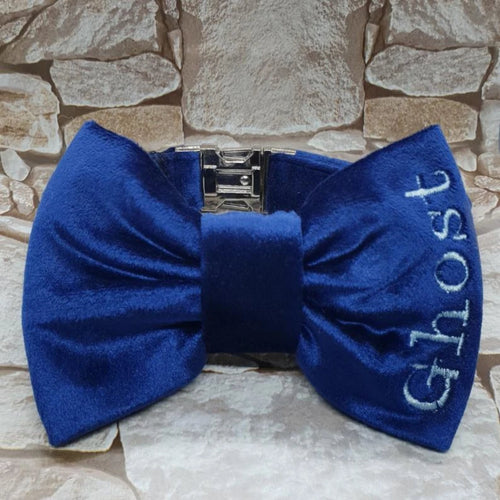 Dog Bow Tie Collar in Blue Velvet Personalised Personalized Wedding Outfit - WaggyBumPetBoutique