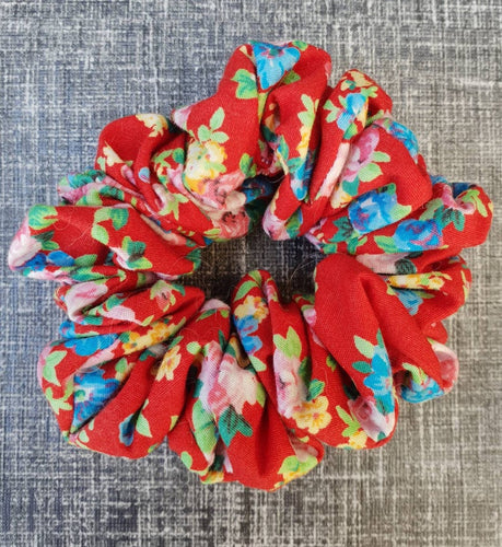 Red Floral Hair Scrunchie - WaggyBumPetBoutique