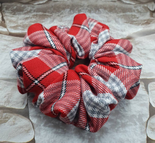 Red Tartan Plaid Hair Scrunchie - WaggyBumPetBoutique