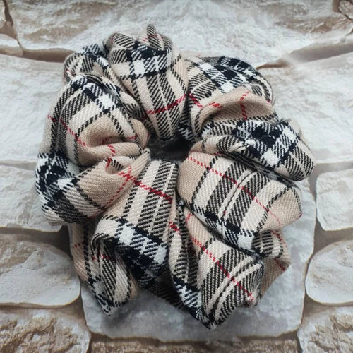 Beige Tartan Plaid Hair Scrunchie - WaggyBumPetBoutique