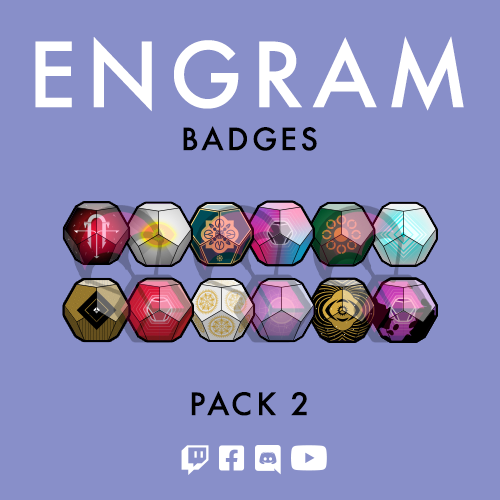 Destiny 2 engram Twitch subscriber badges designed by WildeThang at Loot Drop Graphics