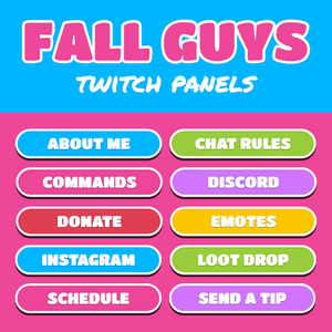 Fall Guys Rounded Twitch Panels designed by Loot Drop Graphics for Twitch streamers