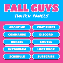 Load image into Gallery viewer, Fall Guys Rounded Twitch Panels designed by Loot Drop Graphics for Twitch streamers