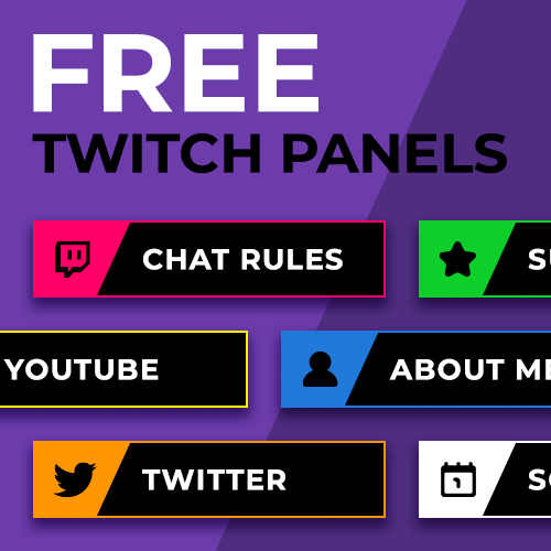 Free downloadable Twitch panel header images designed by Loot Drop Graphics