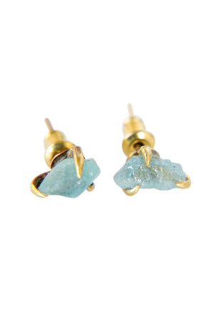 Pair Claw Studs Aquamarine Brass - Bohemia Collection