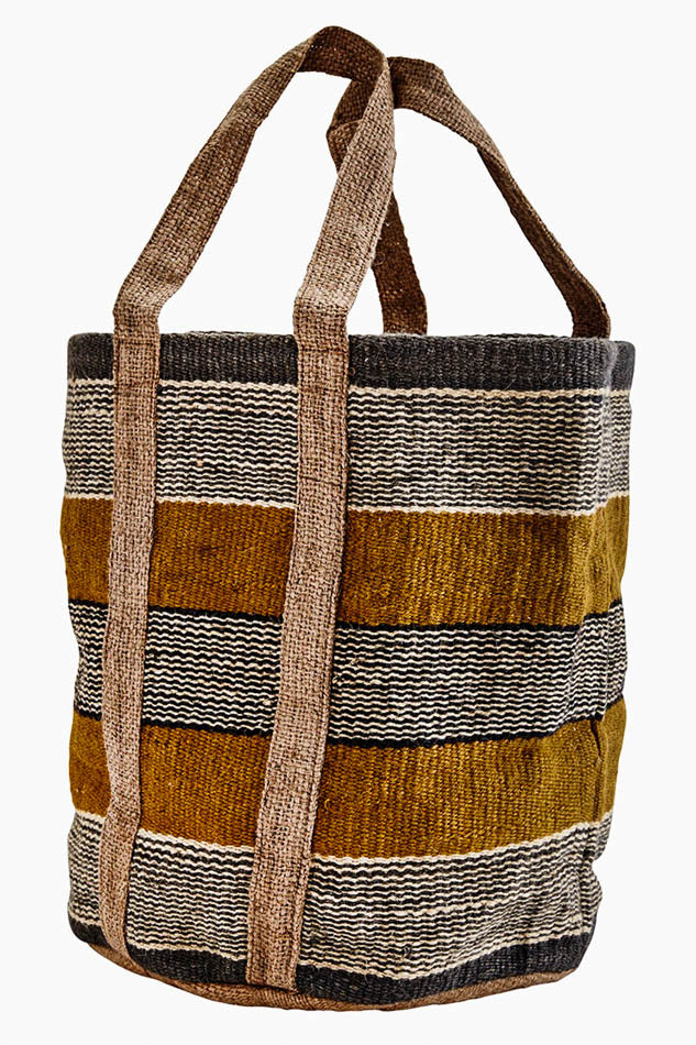 Jute beach bag - Mustard - Madam Stoltz