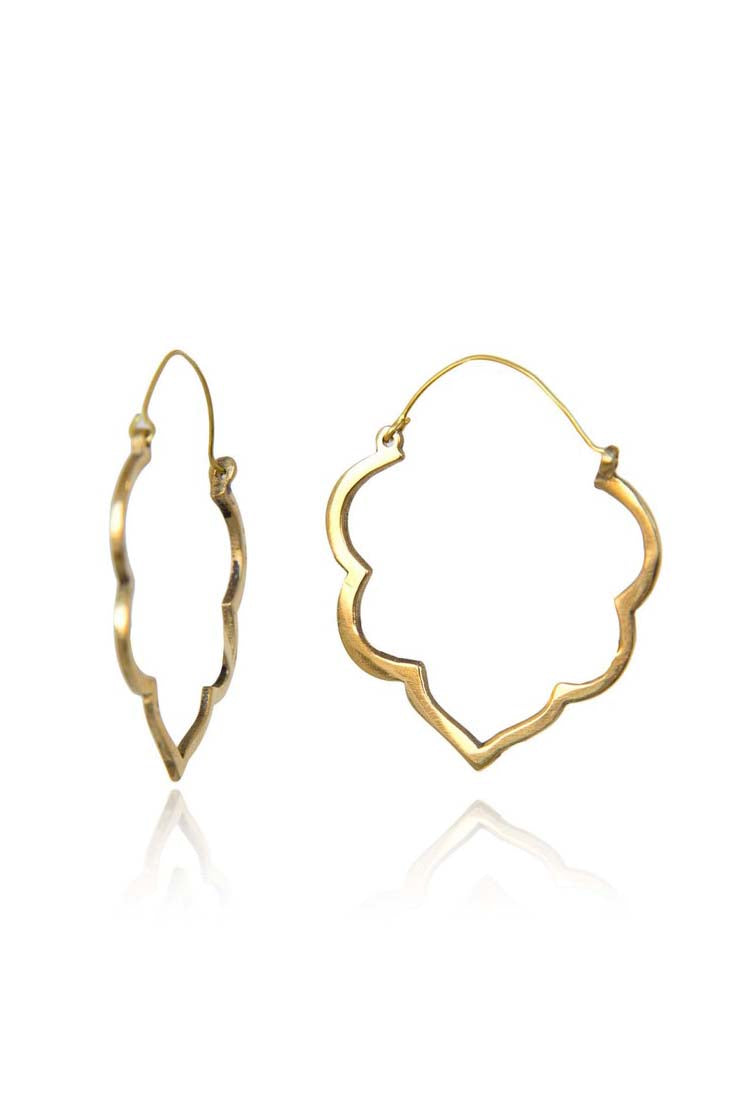 Lotus Flower Ooutline Brass Earrings - Bohemia Collection