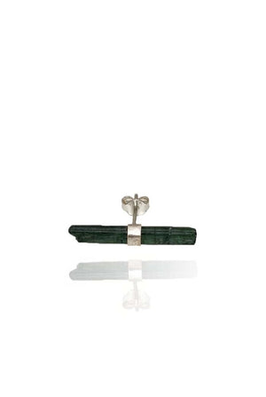Raw Dark Green Turmaline Stud 925 Silver - Bohemia Collection