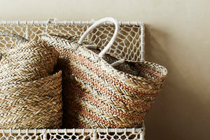 Striped Straw Bag w/ Handles - Madam Stoltz