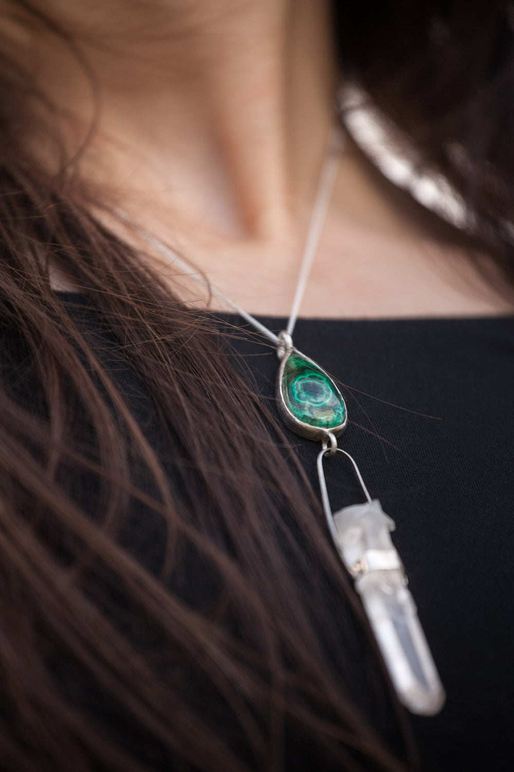 Malachite & Quartz 925 Silver Necklace - Stjernhem