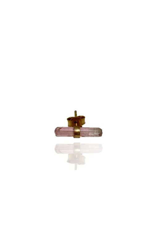 Raw Pink Turmaline Stud Brass - Bohemia Collection
