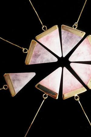 Triangle Rosequartz Earring - Bohemia Collection