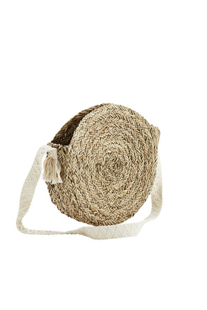 Round Straw Bag w/ Cotton Strap - Madam Stoltz