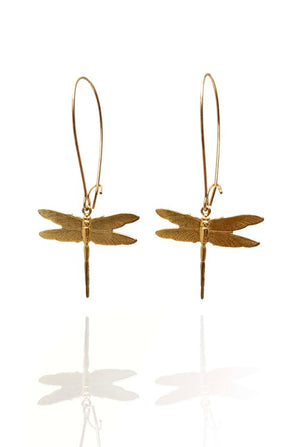 Dragonfly Earrings Brass Pair - Bohemia Collection