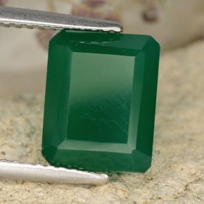 3.37 ct  Octagon Step Cut Green Agate 12.3 x 8.2 mm
