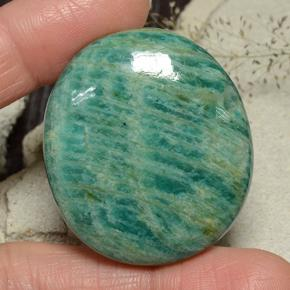 77.14 ct  Oval Cabochon Blue-Green Amazonite 38.2 x 33.5 mm