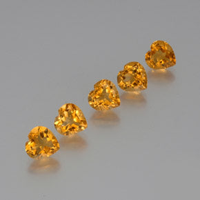 5.44 ct (total) Heart Facet Yellow Golden Citrine 7.1 x 6.9 mm