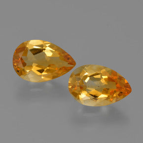 2.30 ct (total) Pear Facet Yellow Golden Citrine 9.3 x 6.1 mm