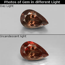3.05 ct  Pear Facet Golden Brown to Orange Color-Change Garnet 10.8 x 7 mm