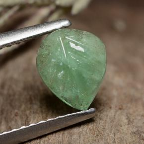 0.88 ct  Carved Leaf Green Emerald 7.8 x 6.5 mm