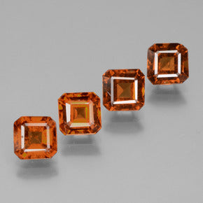 3.09 ct (total) Octagon Facet Cinnamon Orange Hessonite Garnet 5 x 5 mm