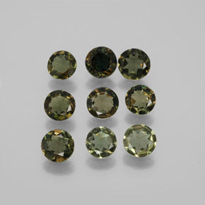 3.30 ct (total) Round Facet Brownish Green Kornerupine 4.7 mm