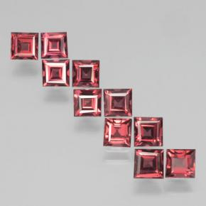 3.82 ct (total) Square Step-Cut Red Pyrope Garnet 4 x 3.9 mm