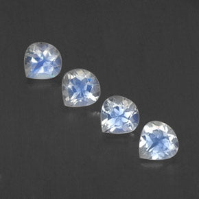 1.62 ct (total) Pear Facet Blue White Rainbow Moonstone 5.2 x 5.1 mm
