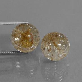 27.14 ct (total) Drilled Sphere Colorless Golden Rutile Quartz 12.3 mm