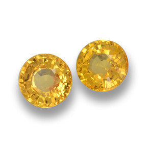 1.34 ct (total) Round Facet Yellow Golden Sapphire 5 mm