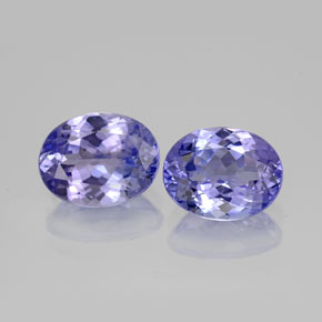 3.46 ct (total) Oval Facet Violet Blue Tanzanite 8.5 x 6.7 mm