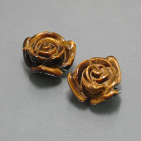 23.41 ct (total) Carved Rose with Half Drilled Hole Gold Brown Tiger's Eye 16.4 x 15.5 mm