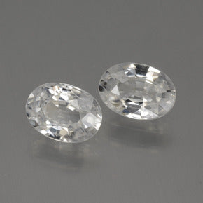 2.35 ct (total) Oval Facet White Zircon 7.1 x 5 mm