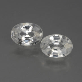 2.31 ct (total) Oval Facet White Zircon 7.1 x 5.1 mm