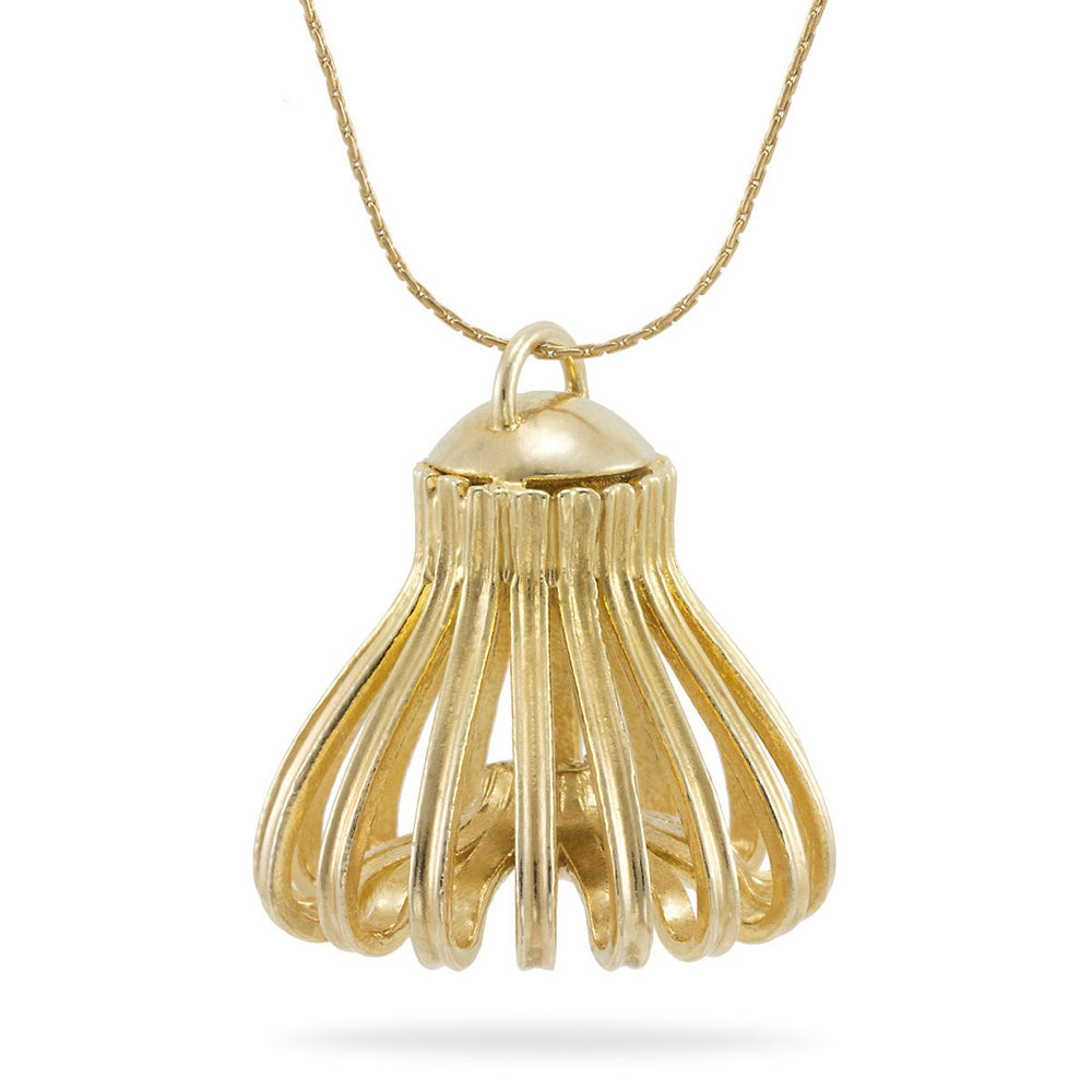 "Long Gold Statement ""Jellyfish"" (""Medusa"") Necklace, 14K Gold-Plated"