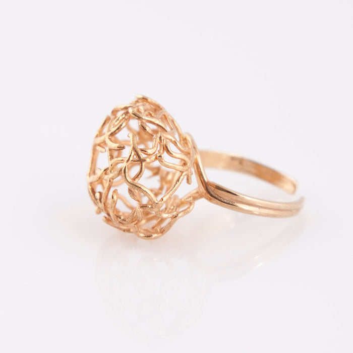 Nautical Orb Ring, 14K Gold Plated Silver