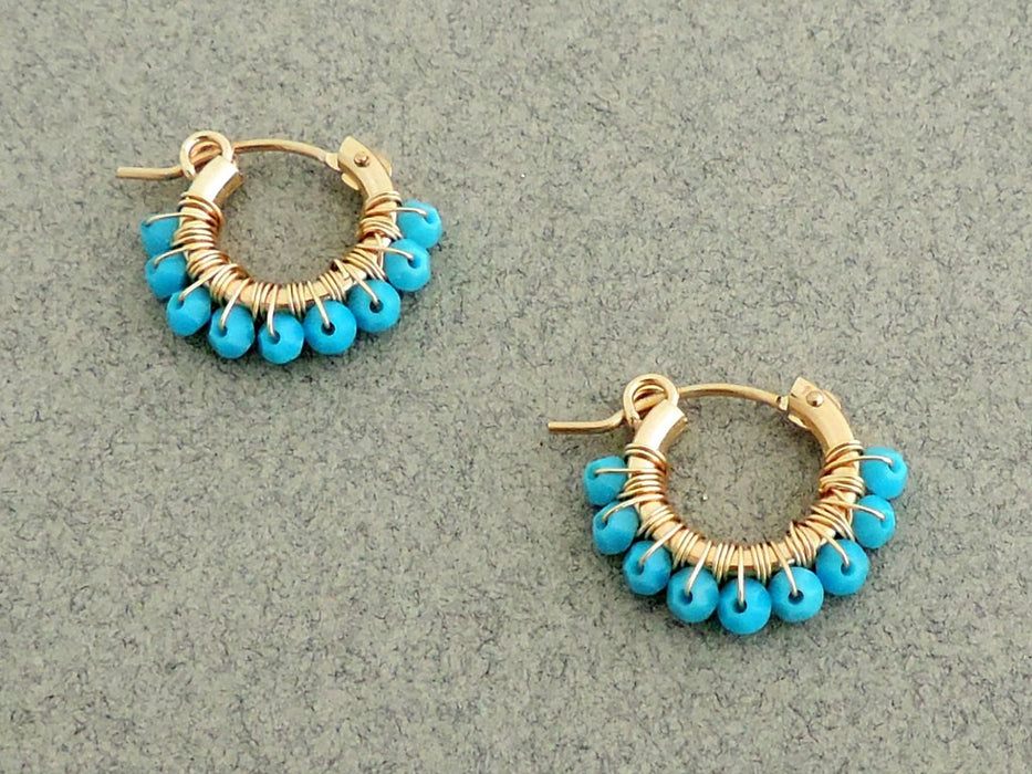 Gypsy-Style Hoop Earrings, 14K Gold- Filled with Turquoise Swarovski Beads