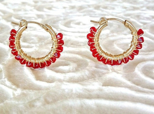 Boho Style Hoop Earrings, Wrapped with Red Swarovski Beads