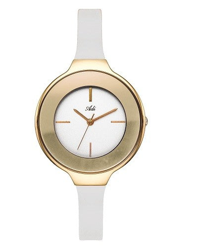 ADI Women's - Gold Trim Accents/White Silicone Strap