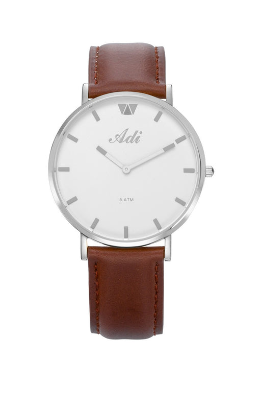 ADI Women's Watch Silver & White with Brown Leather Strap